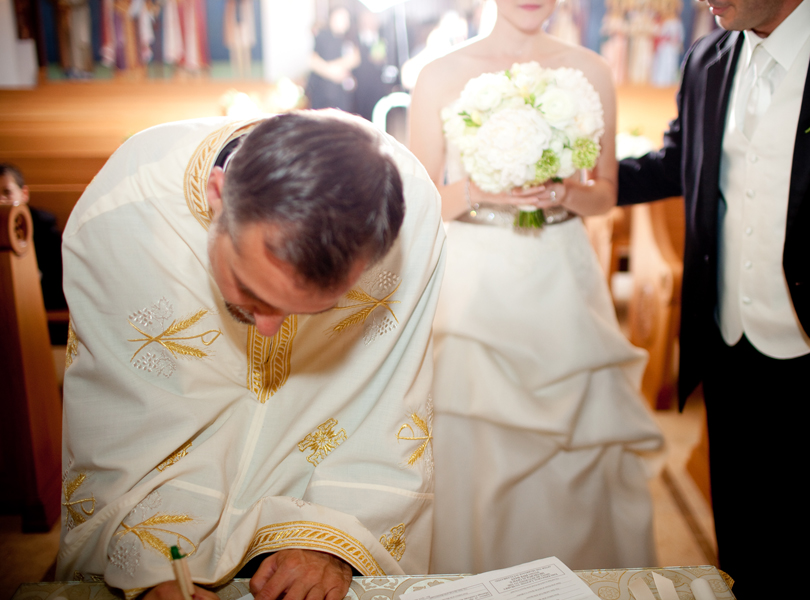 signing marriage certificate, Transfiguration Greek Orthodox Church