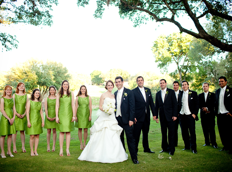 wedding party portrait, The Hills Country Club Wedding, green dress, tuxedo