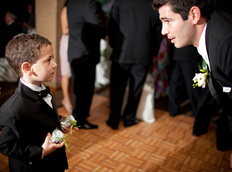 groom and ring bearer having a chat, The Hills Country Club Wedding