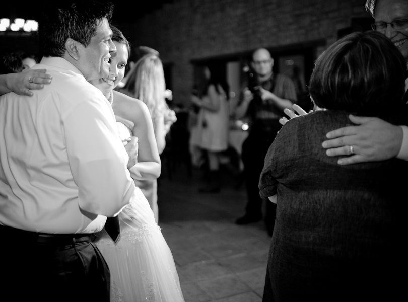 bride and groom, bride's parents dancing, thurman mansion wedding
