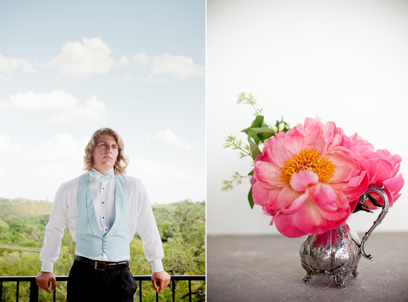 Austin Weddings, Camille Styles, The Byrd Collective, antiquaria vintage registry, pink flowers, baby blue vest, blond