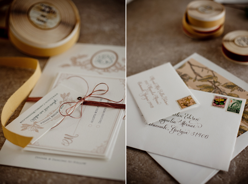 Austin Weddings, Camille Styles, The Byrd Collective, antiquaria vintage registry, custom invitations