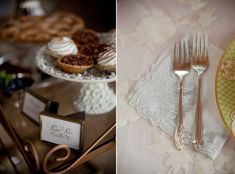 Austin Weddings, Camille Styles, The Byrd Collective, antiquaria vintage registry, vintage silver, deserts