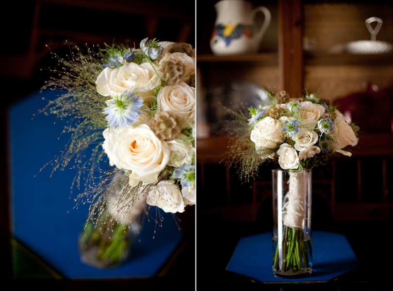 babys breath, rose, blue flower