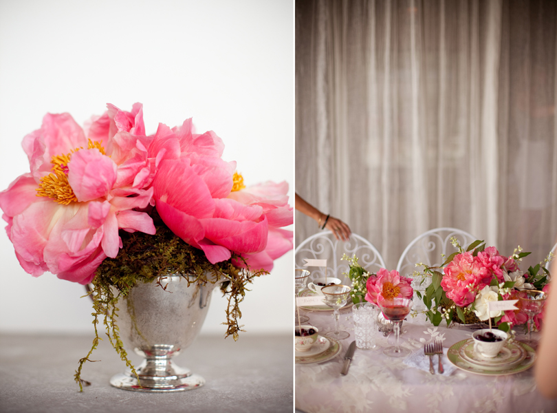 Austin Weddings, Camille Styles, The Byrd Collective, antiquaria vintage registry, pink flowers, silver tea set