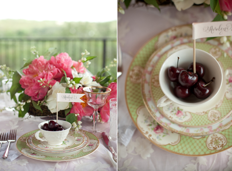 Austin Weddings, Camille Styles, The Byrd Collective, antiquaria vintage registry, cherries, pink flowers