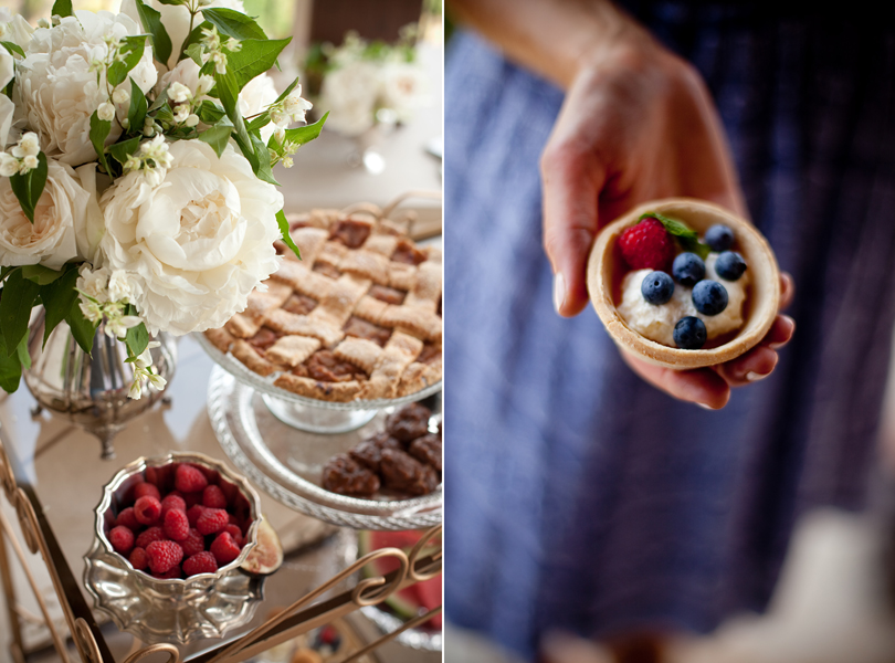 Austin Weddings, Camille Styles, The Byrd Collective, antiquaria vintage registry, desert, fruit custard, apple pie, raspberries