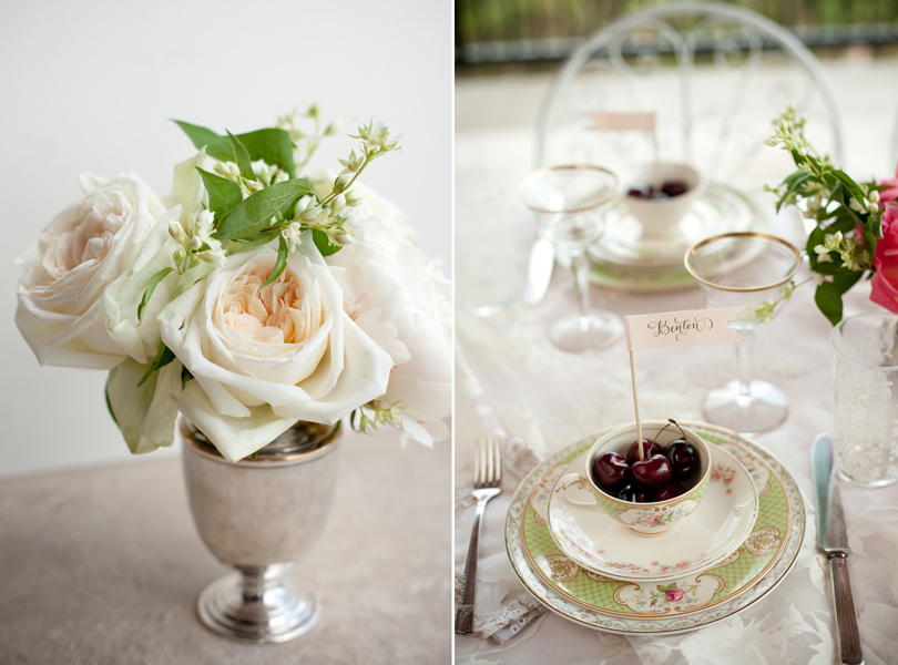 Austin Weddings, Camille Styles, The Byrd Collective, antiquaria vintage registry, while flowers in antique silver setting, southern charm, cherries