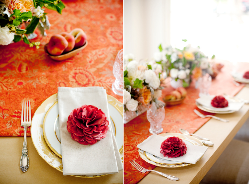 Camille Styles, The Byrd Collective, Any Style Catering, Food and Flowers, dinner party, peach, gold china, table scape