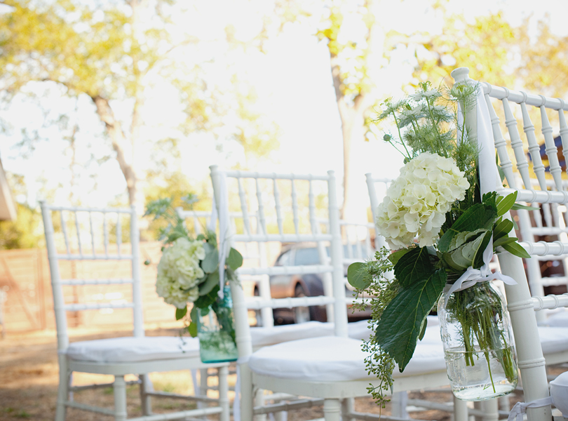 charming south austin backyard wedding, whole foods, DIY, austin wedding photography, blue mason jars, white hydrangea