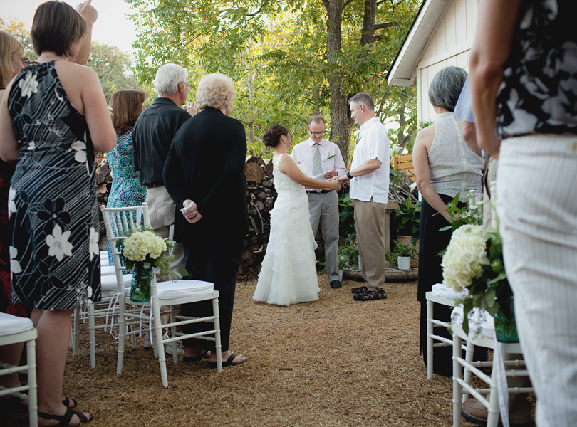 charming south austin backyard wedding, whole foods, DIY, wedding ceremony, matire bride and groom, intimate wedding, wedding dress, casual wedding attire