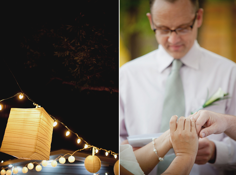 charming south austin backyard wedding, whole foods, DIY, dusk wedding, exchanging rings, paper lanterns