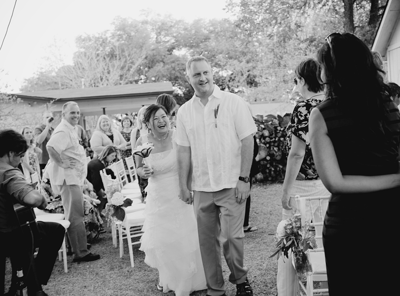 charming south austin backyard wedding, whole foods, DIY, black and white, mature bride and groom, second marriage, met online, happy couple