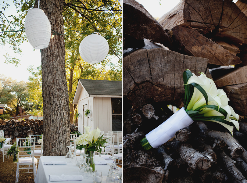 charming south austin backyard wedding, whole foods, DIY, austin wedding photography, wedding bouquet, wood grain, table setting, flower centerpieces, white hydrangea, lilly,