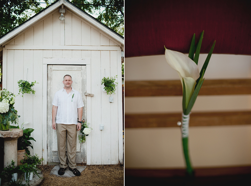 charming south austin backyard wedding, whole foods, DIY, austin wedding photographer, boutonniere, mature groom, rustic wedding,