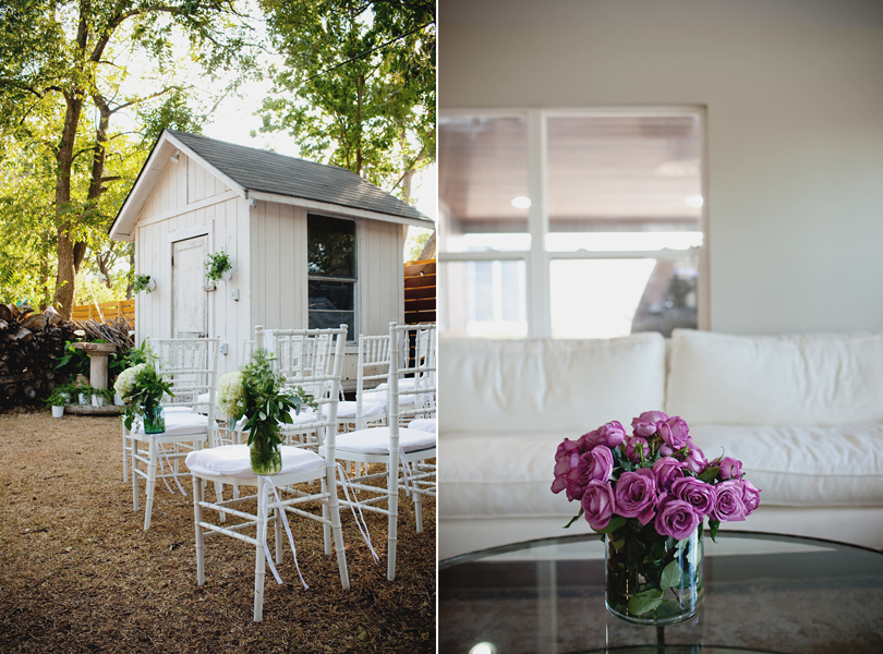 charming south austin backyard wedding, whole foods, DIY, wedding flowers, shabby sheik, roses, white, blue mason jars, white hydrangea, New York Wedding Photographer