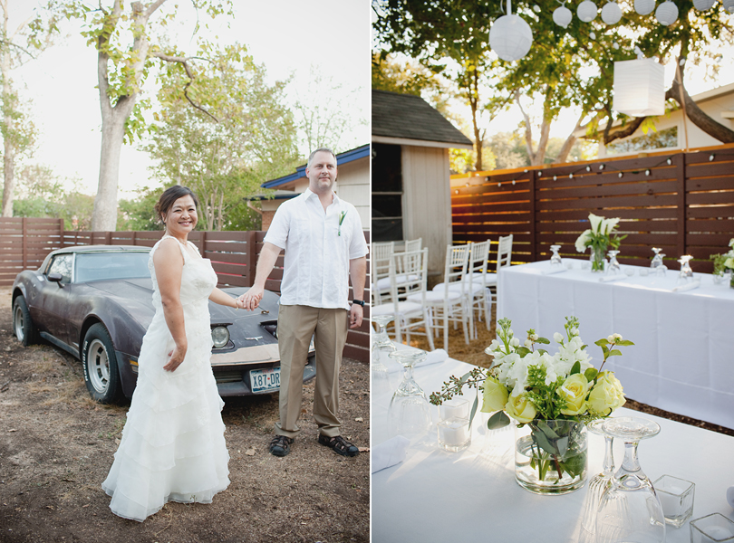 charming south austin backyard wedding, whole foods, DIY, mature bride and groom, table setting, classic corvette, flower centerpieces