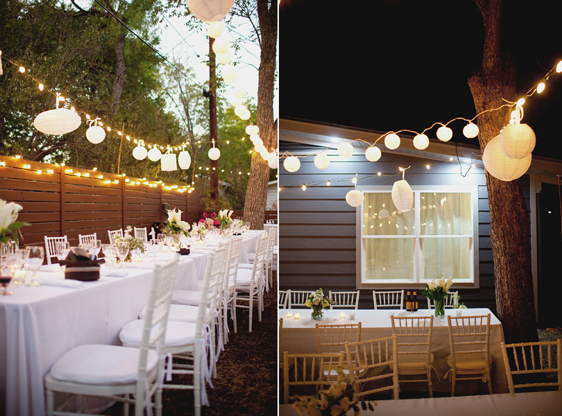 charming south austin backyard wedding, whole foods, DIY, dusk wedding, paper lanterns,