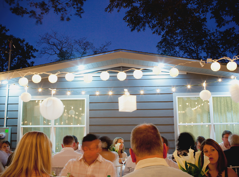 charming south austin backyard wedding, whole foods, DIY, houston wedding photographer, paper lanterns, nighttime wedding,