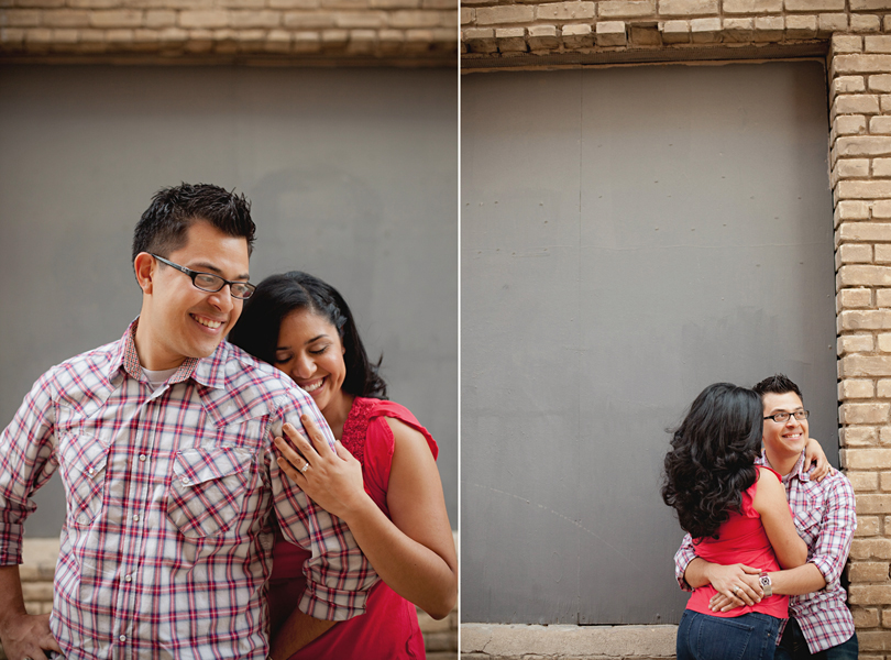 UT campus engagement session, austin engagement photographer, Latin couple, grey wall, alley