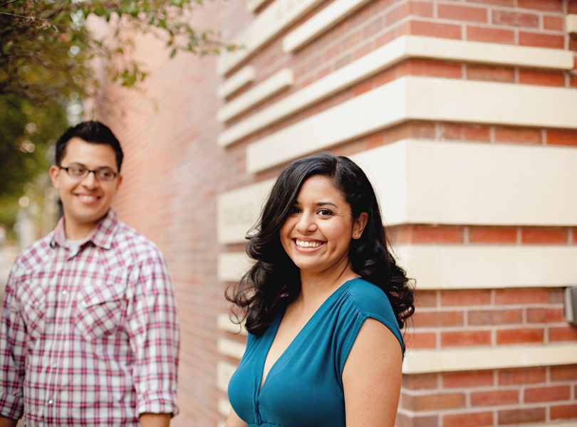 UT campus engagement session, austin engagement photographer, Latin couple, blue dress