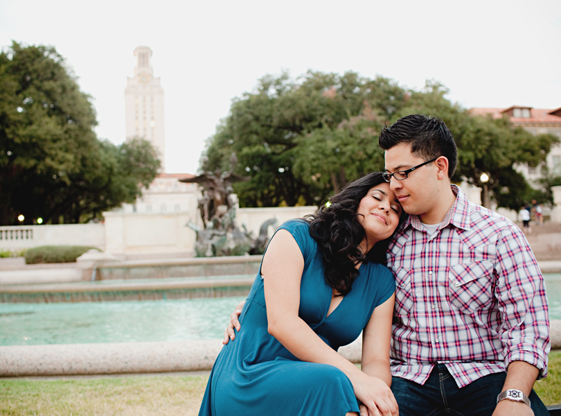 UT campus engagement session, austin engagement photographer, UT tower, bride and groom, blue dress,