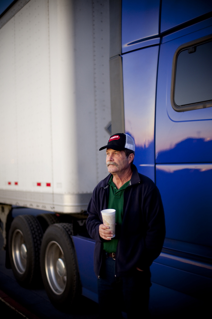 austin commercial portrait of a truck driver at day break