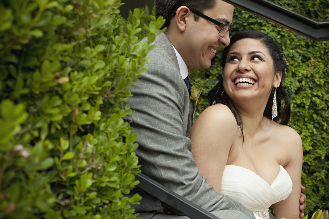 Latin couple just married at the Hummingbird House, Austin Tx Weddings