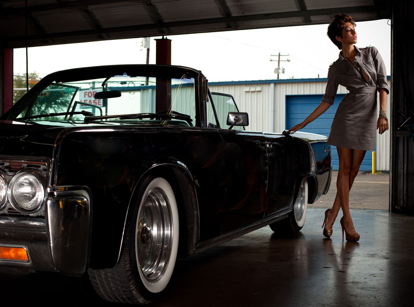 austin photographer, austin fashion week, model, black car, garage, classic car, suicide doors, designer shoes