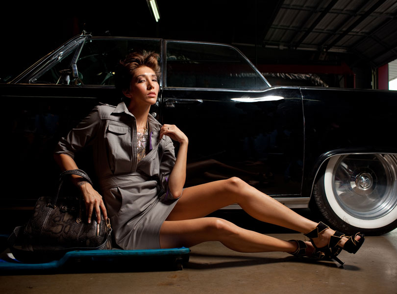 austin photographer, austin fashion week, model, designer handbag, garage, classic car, suicide doors, designer shoes