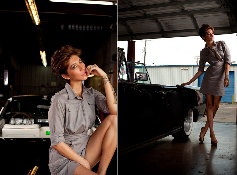 austin photographer, austin fashion week, grey dress, classic car, garage, auto shop, model