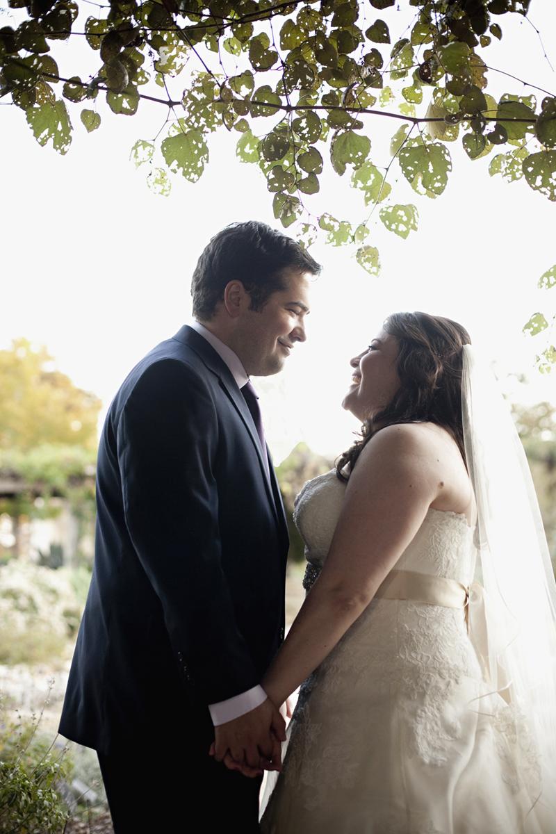 bride and groom, wedding dress, wedding veil, lady bird johnson wildflower center, austin wedding photography, austin wedding photographer, purple suit