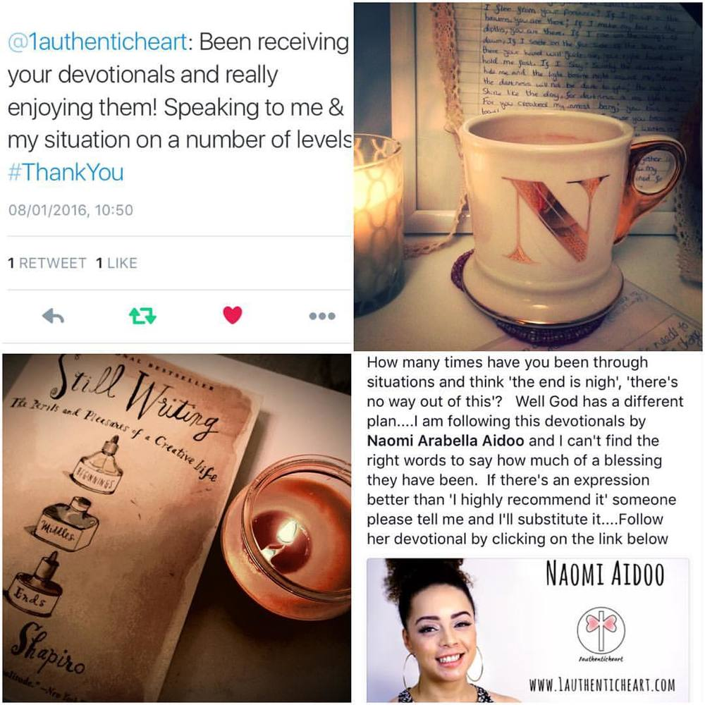 Sooooo thankful for the wonderful words like these, which I've received from subscribers to my e-devotionals. 😄 Thank you for the tweets, texts, phone calls etc, guys. I'm SO excited and encouraged at what God is doing! I've still got over twenty days to go of these free downloadable Bible reflections. Join us on the journey- we're all loving how God is speaking! #God #Bible #BibleStudy #Jesus #dream #encouragement #signup #subscribe #reflection #testimony #1authenticheart