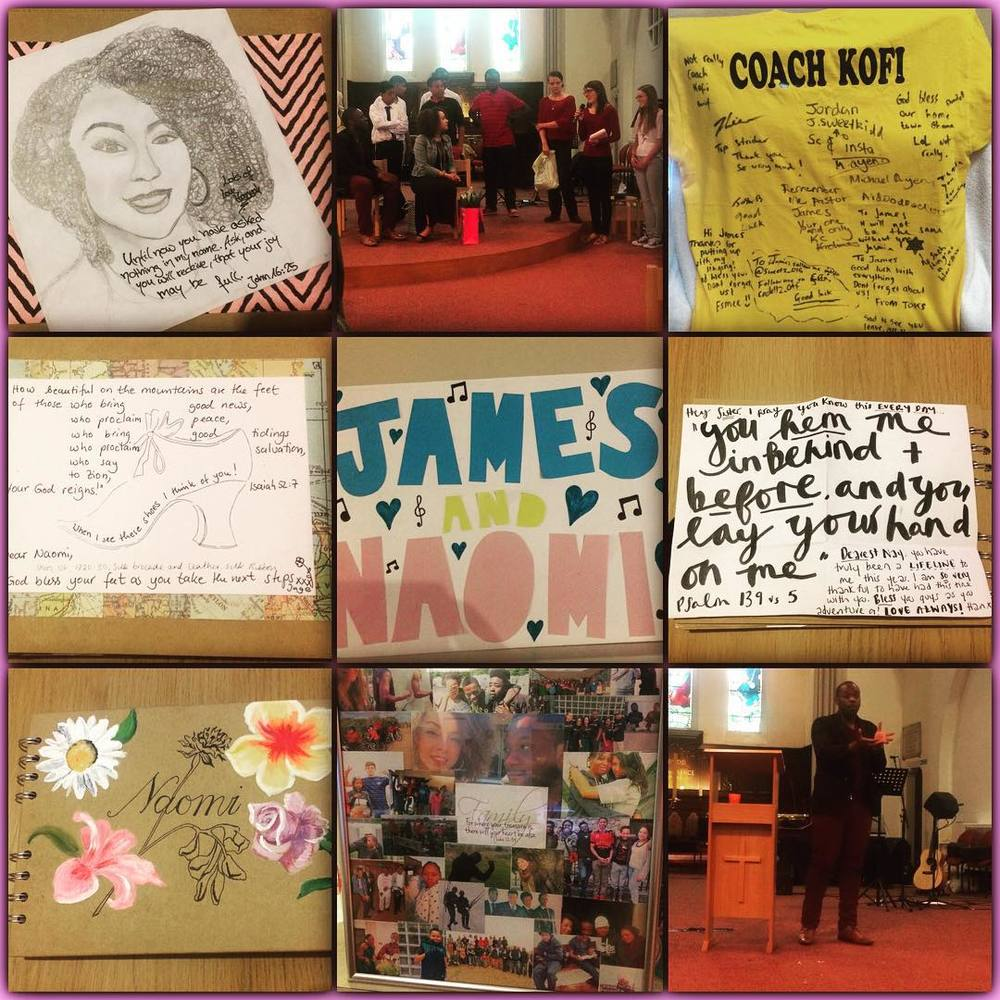Loved the send off our church gave us for our last service yesterday. Especially from our youth and young adults. My girls group gave me SUCH beautiful scrapbook (bottom left) filled with notes from them and other women in the church, photos, Bible verses and one of them even drew a picture of me!! (Top left.) @j_a2000 preached a wonderful and inspiring final Tollington Parish sermon and was presented with a signed T-Shirt under his self proclaimed alias 'Coach Kofi'. 😂 We are so thankful for the cards, gifts, photos and words. So surreal that things this side are nearly finished… But so, so excited for our new season! #Church #leaving #goodbyes #firsts #lasts #sermon #preach #gifts #thankful