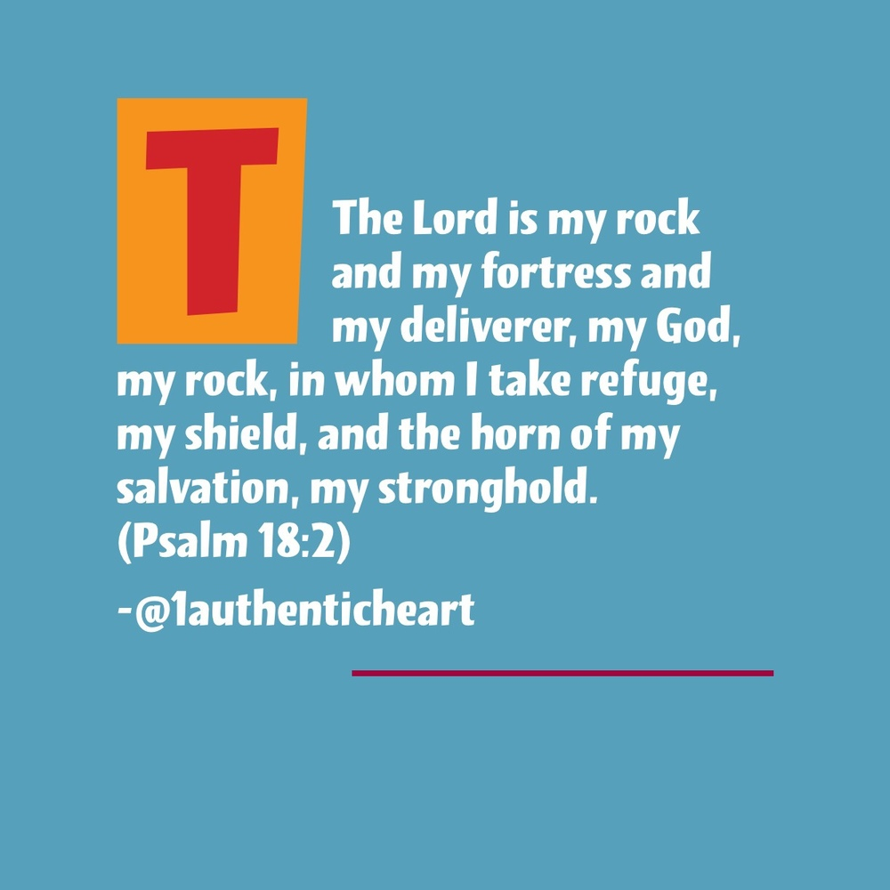 Rock, fortress, deliverer, shield, refuge, salvation & stronghold! God is all we need and more. He is our all in all! Seek Him and know Him for all that He is.