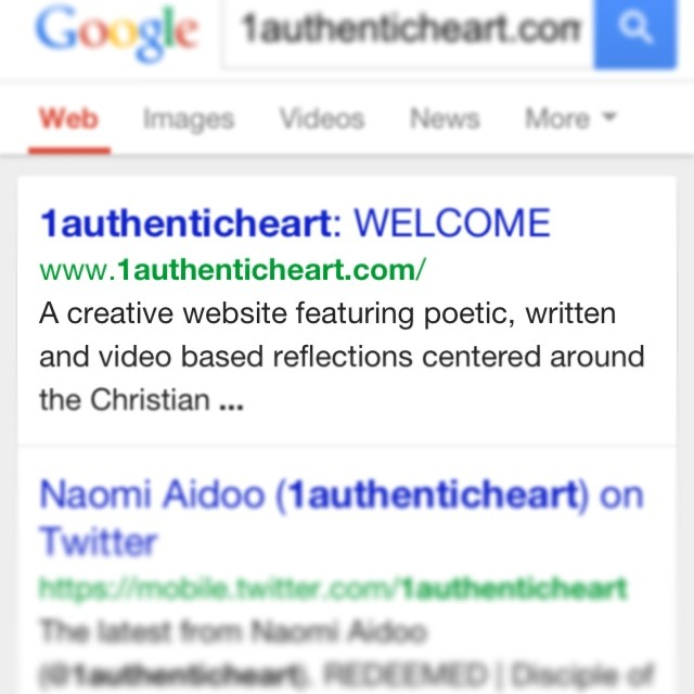 Slyly excited that my #website is now recognised on the #google search engine. New material is on it's way… If you haven't already, please check out www.1authenticheart.com