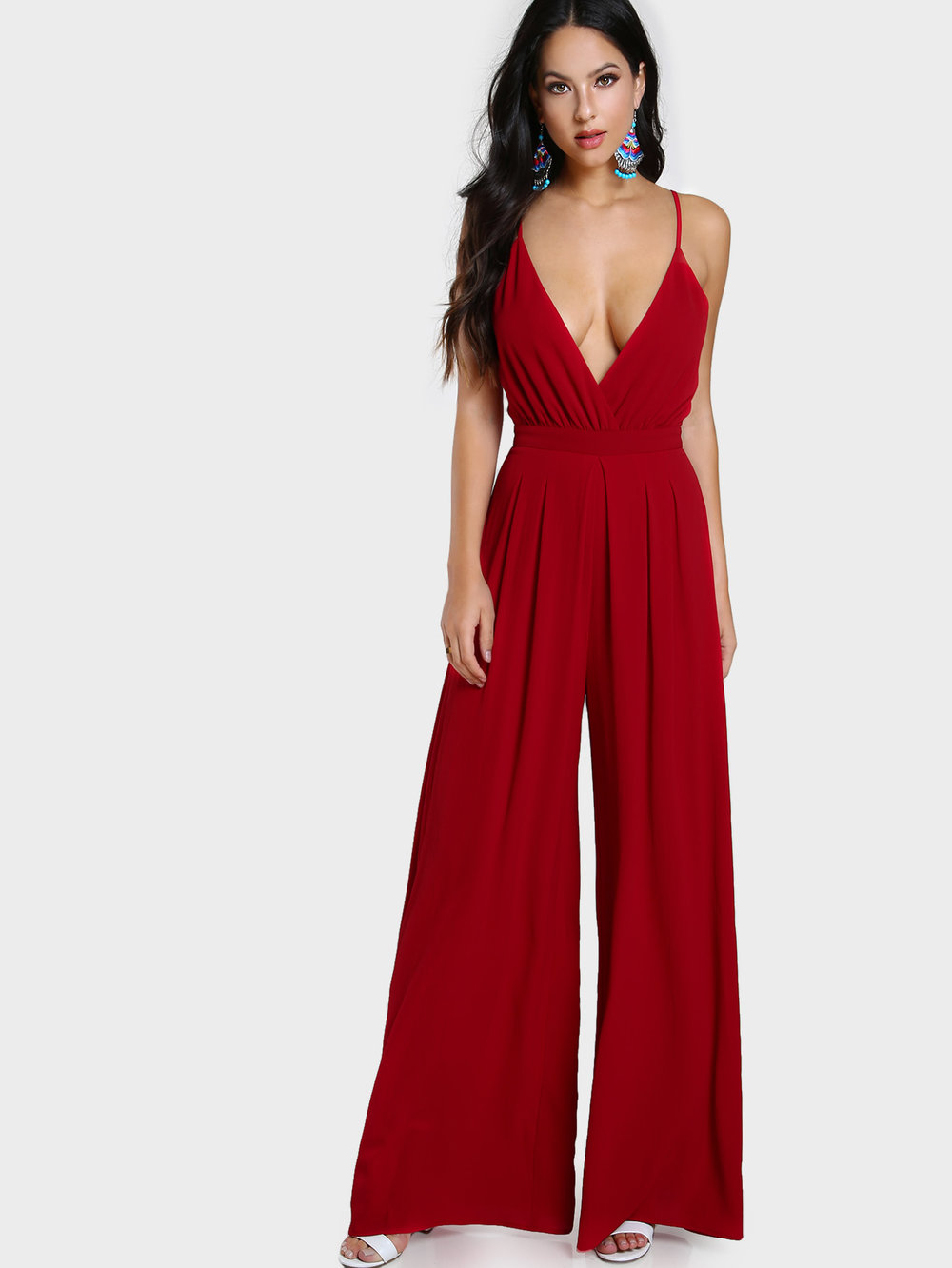 V-Cut Red Jumpsuit