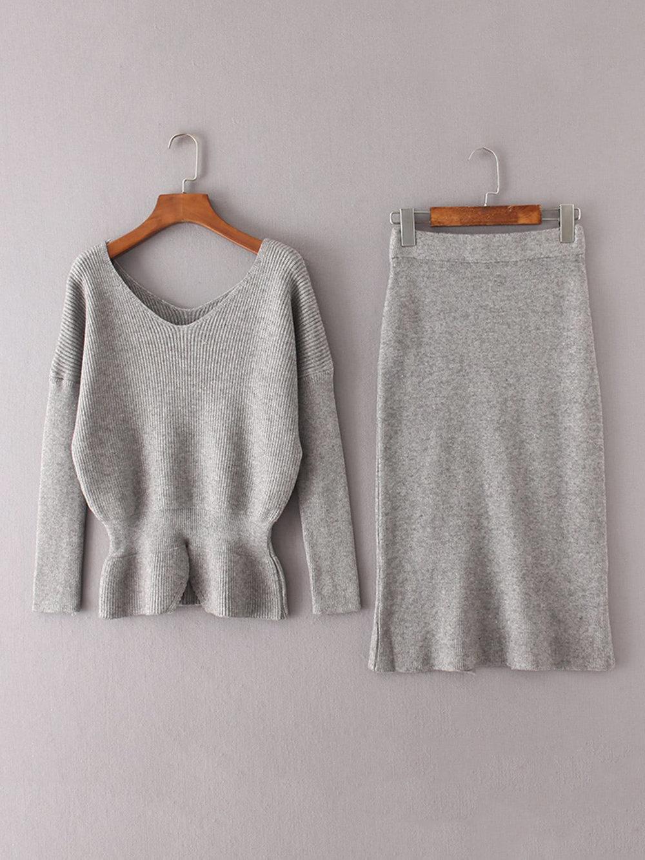 Peplum Knitwear Set
