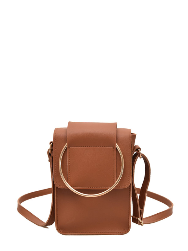 Ring Design Flap Shoulder Bag