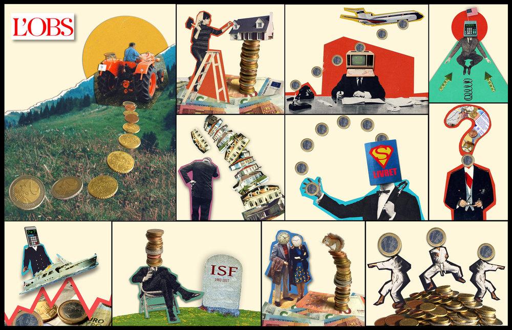 """12 illustrations pour le """"Dossier Spécial Placements"""""""