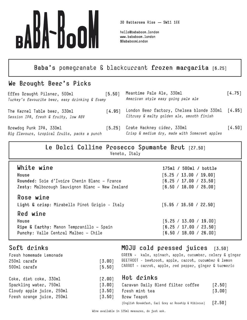 BabaBoom Drinks Menu May 2017