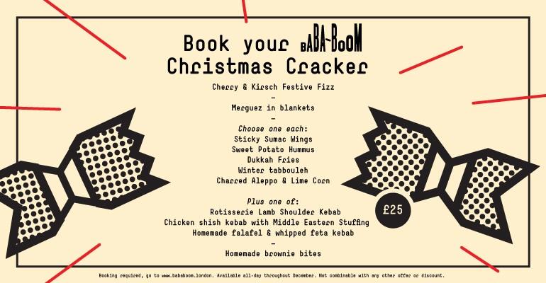 BabaBoom Christmas Cracker Menu