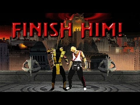Legendary scene of an icon of pop culture, Mortal Kombat 2, a fighting video game where the winner has the opportunity to violently kill the looser.