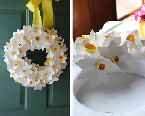Wreath with paper crafted daffodils