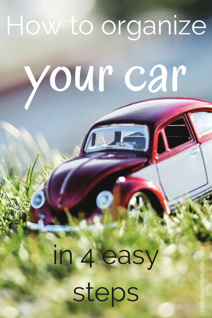 How to organize your car in 4 easy steps - Read all about organizing your car in general here in this blog post and you can click on the blue button to get the worksheet for organizing for (long) road trips.