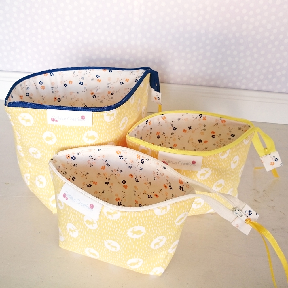 boxed zipper pouches in yellow