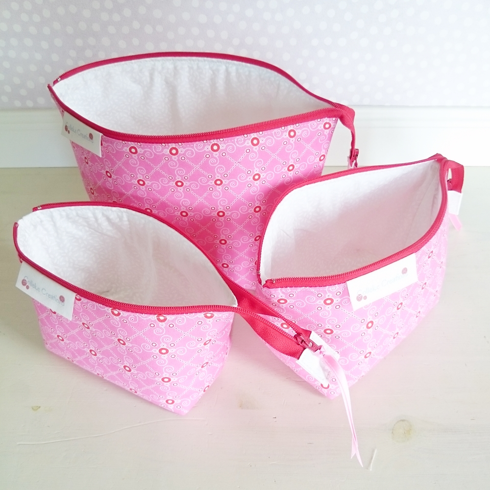 Boxed zipper pouches in pink
