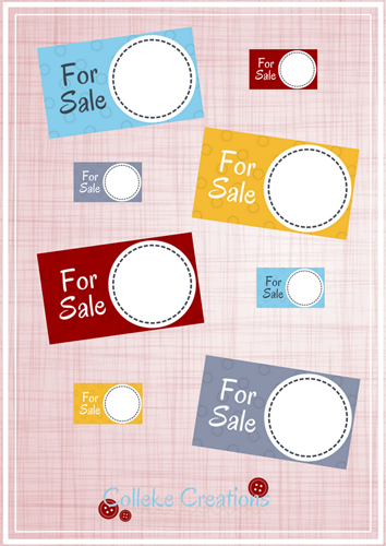 Price tags for your garage sale - When you are selling your items through a garage sale, you need to price them, right? For the 3 steps on how to prepare for a garage sale, read this blog post here. Click on the blue button to download 2 sizes price tags in 4 different colors.