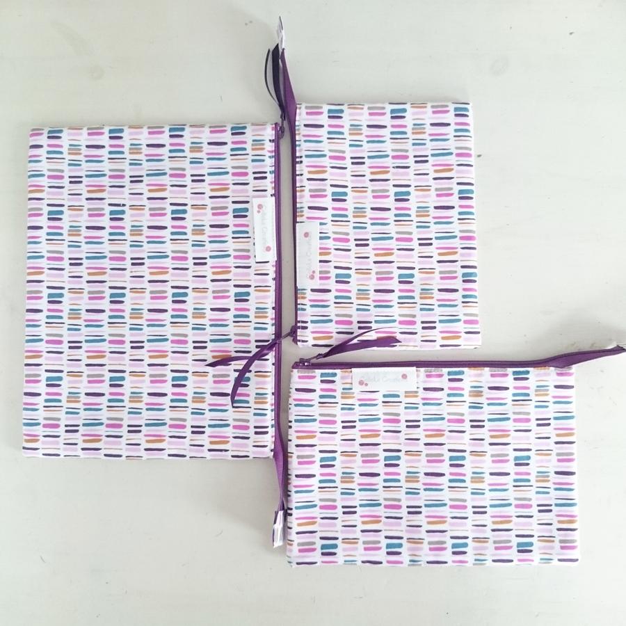 Flat zipper pouches in purple