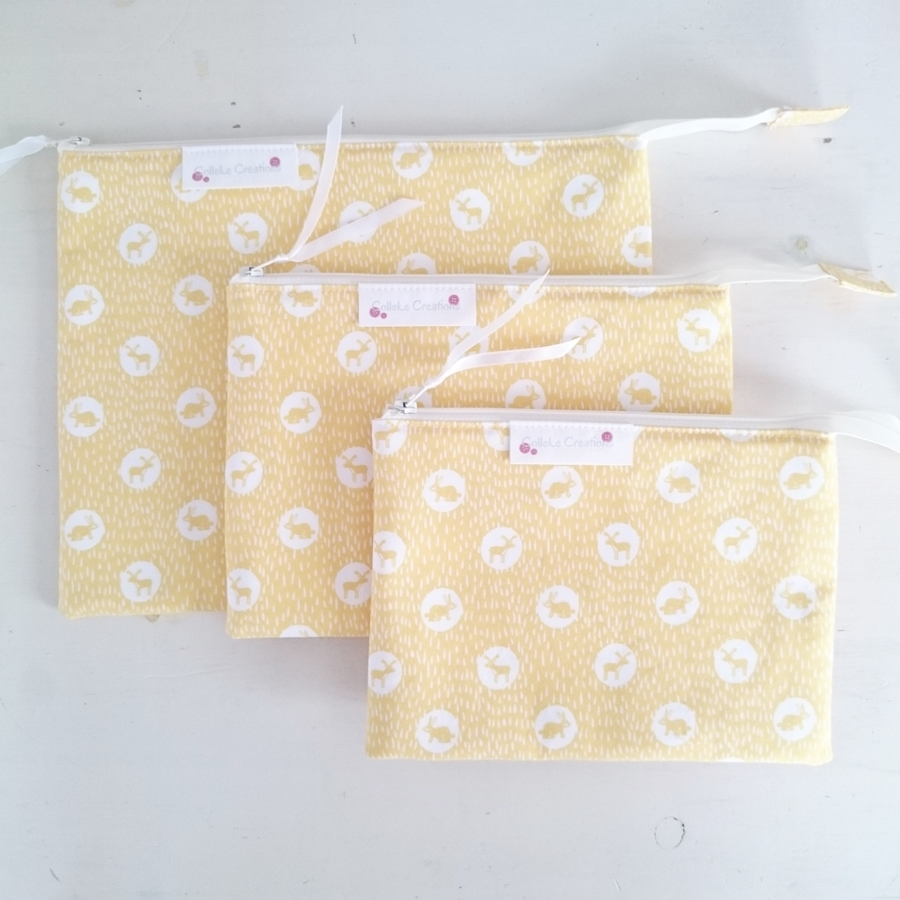 Flat zipper pouches in yellow